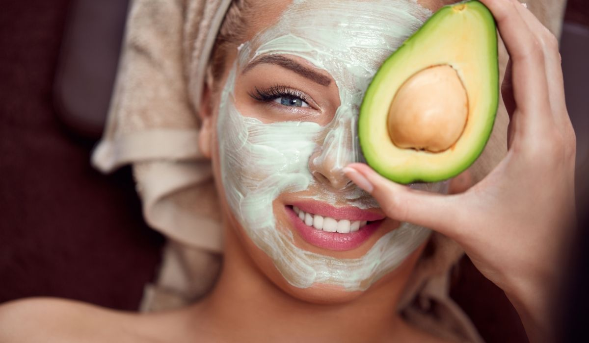 woman with avocado mask