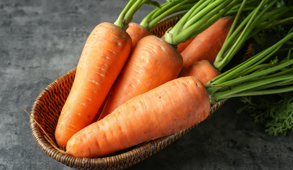 Carrots on a brown basket