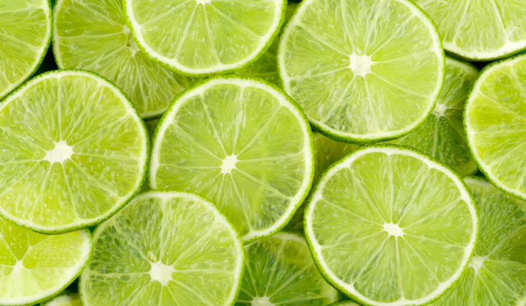 Close-up picture if sliced limes